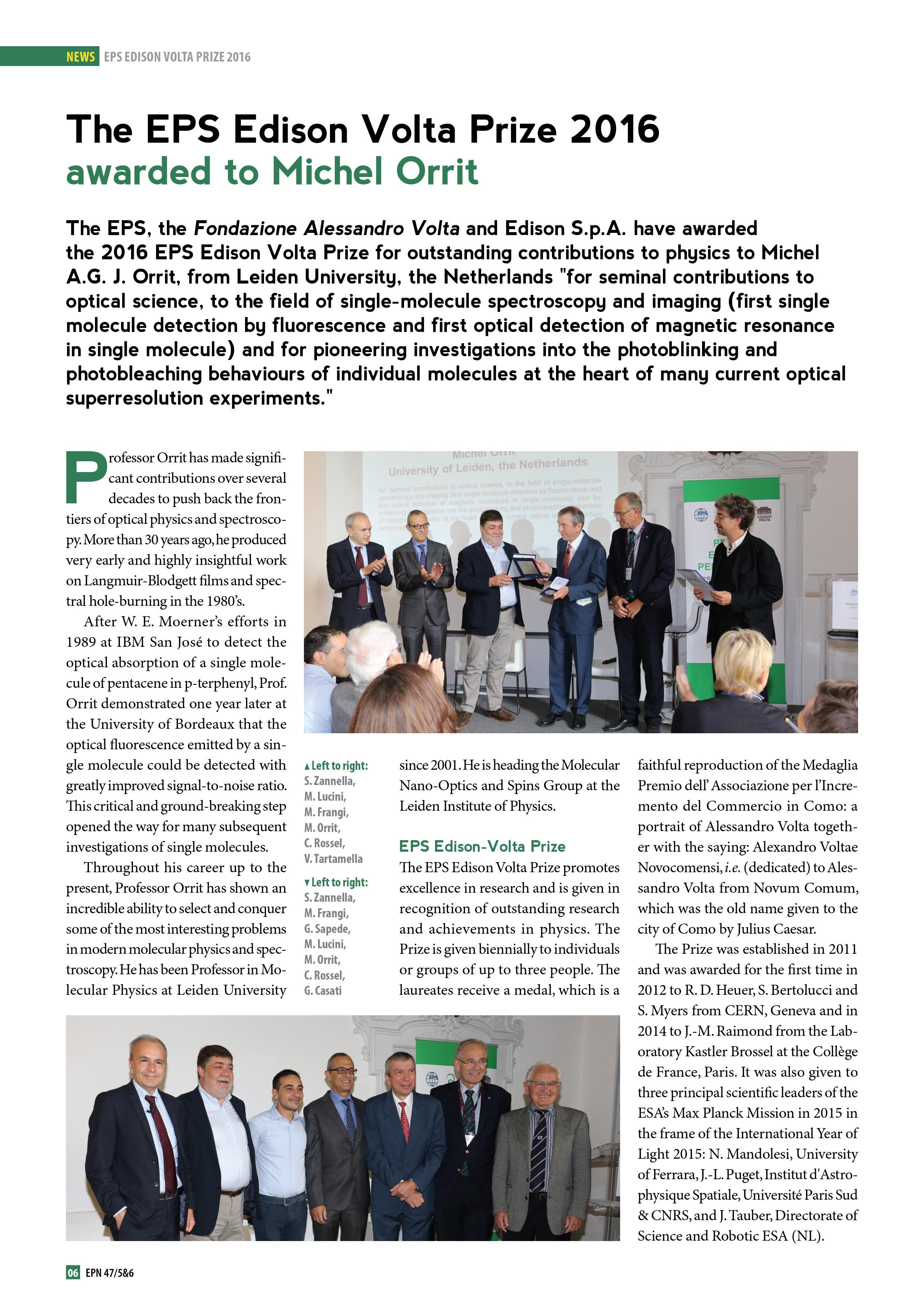The EPS Edison Volta Prize 2016